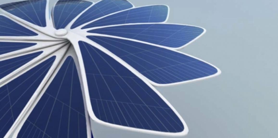 Solar-powered umbrella
